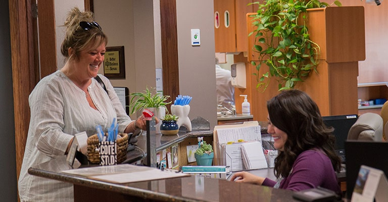Shot of the front desk at our dentist in Mankato, MN